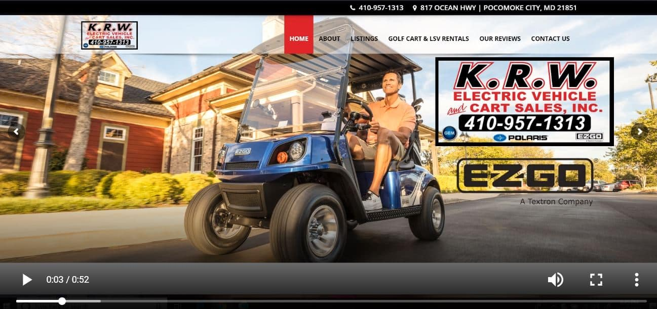 Golf Cart Dealer Website Development