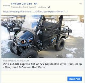 Golf Cart Marketing for Facebook
